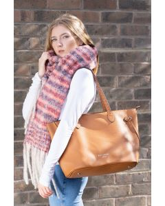 684 TAN- Tan Shopper Shoulder Bag With Weave Strap