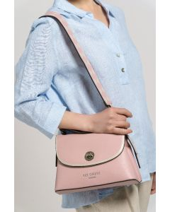 702 PINK - Pink Tote with Patterned Shoulder Strap