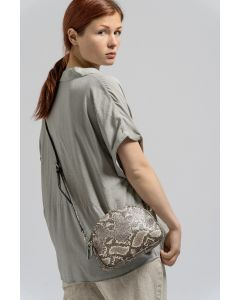 677 CREAM- Cream Snake Skin Effect double Zip Cross Body Bag