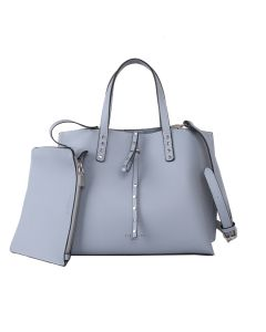 613 DUSKY BLUE - Dusky Blue Tote Bag With Detachable Pouch