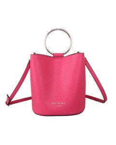623 HOT PINK - Hot Pink Bucket Bag with Hoop Handles