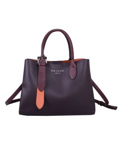 665 PURPLE- Purple Multiway Silver Buckle Tote Bag