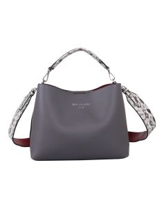 667 GREY- Grey Snakeskin Effect Strap Shoulder Bag
