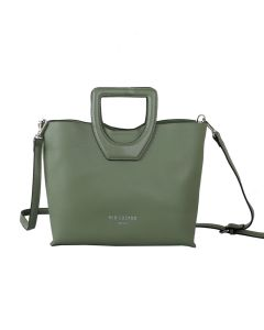 668 GREEN- Green Bucket Handle Tote Bag