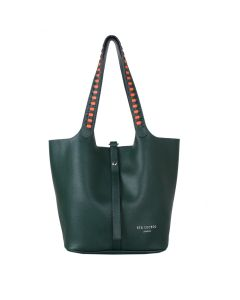 669 GREEN- Green Weave Strap Shoulder Bag