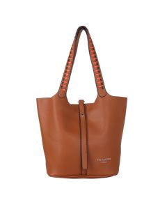 669 TAN- Tan Weave Strap Shoulder Bag