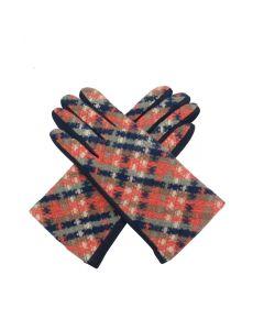 C006 NAVY -Woven Check Gloves Navy