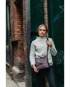 657 PURPLE- Purple Front Zipper Pocket Cross Bag