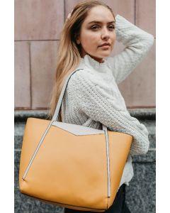 655 MUSTARD - Mustard Shopper Shoulder Bag