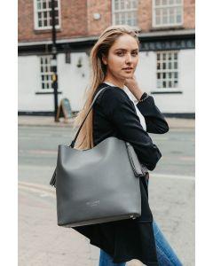 659 GREY- Grey Tassel Shoulder  Bag