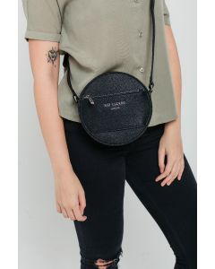 713 BLACK - Black Round Cross Body Bag