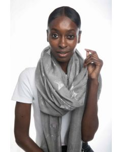 18053 Silver - Ivory Scarf Silver
