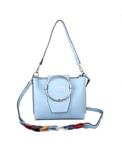 428 LIGHT BLUE - Light Blue Hoop Front Shoulder Bag