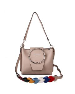 428 SILVER - Silver Hoop Front Shoulder Bag