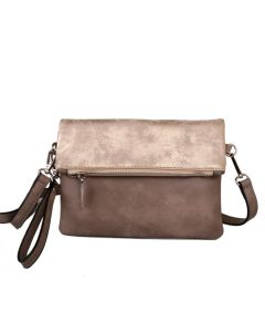 436 SILVER - Silver Two Tone Cross Body Bag
