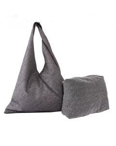496 GREY - Grey Metallic Hobo Bag