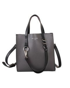 498 GREY - Grey Small Contrast Handle Shopper