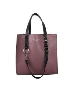 498 PURPLE - Purple Contrast Handle Shopper