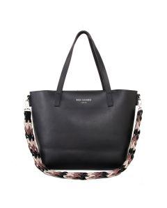 518 BLACK - Black Shoulder Bag with Contrast Strap