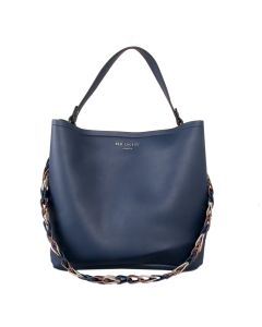 519 NAVY - Navy Tote with Contrast Straps
