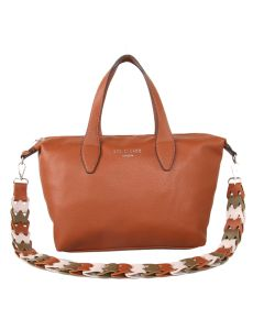 522 BROWN - Rust Tote with Contrast Strap