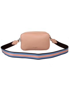 566 PINK - Pink Double Zip Cross Body Bag