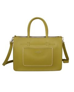 592 GREEN - Green Front Pocket Tote Bag