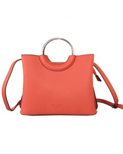 612 CORAL - Coral Tote Bag With Metal Loop Handles