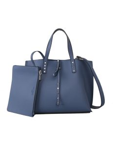 613 BLUE - Blue Tote Bag With Detachable Pouch