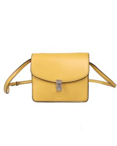 616 YELLOW - Yellow Cross Body Bag With Lock Fastening
